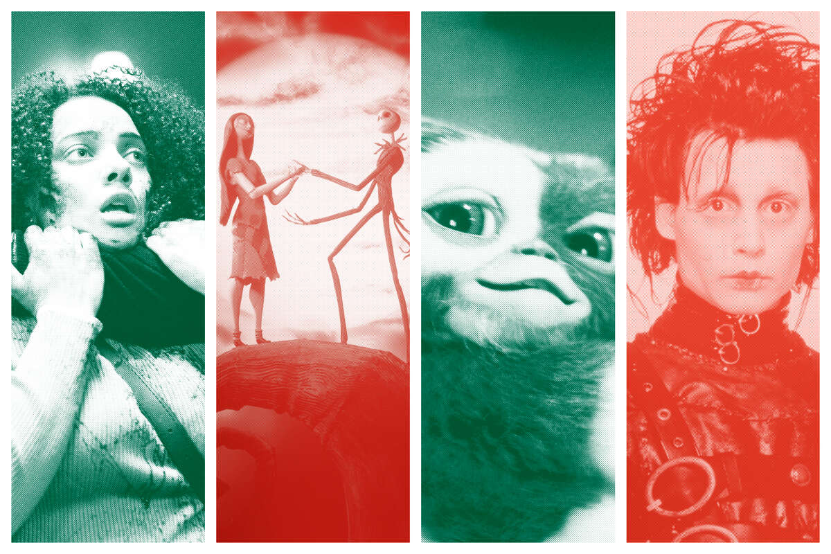 (left to right) Black Christmas, The Nightmare Before Christmas, Gremlins, Edward Scissorhands.
