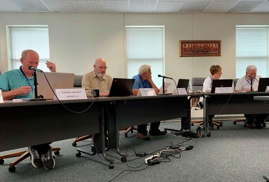 The Osceola County Board of Commissioners opted to stay with and elected road commission at its meeting Dec.18. The board had considered returning to an appointed road commission following a series of complaints from the public about the road conditions. (Herald Review photo/Cathie Crew)