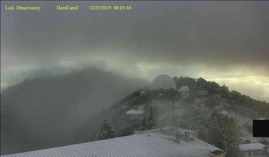 A light dusting of snow could be seen on Mount Hamilton on Dec. 25, 2019. Photo: Lick Observatory