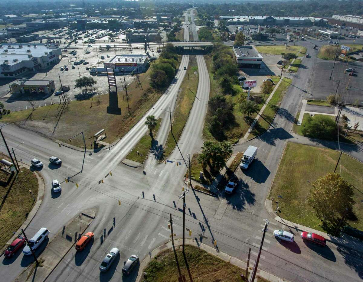 The intersection of Harry Wurzbach Road, going top to bottom through the image, and Eisenhauser Road is seen in a Thursday. December 24, 2019 aerial image while Austin Highway can be seen in the background passing over Harry Wurzbach. A $22 million, two-year redesign of the 1962-era intersection is set to begin in February 2020.