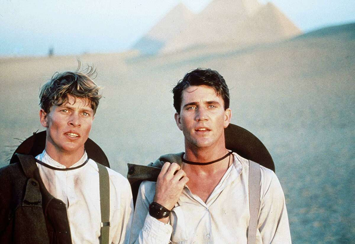 Mark Lee (left) and Mel Gibson in a scene from Peter Weir's film 'Gallipoli.' Their characters landed in Egypt, seen here, before heading off to the battlefield at Gallipoli.