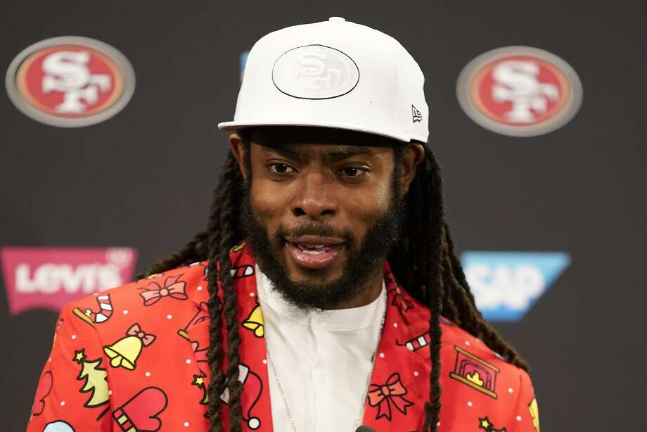 San Francisco 49ers cornerback Richard Sherman speaks at a news conference after the 49ers defeated the Los Angeles Rams in an NFL football game in Santa Clara, Calif., Saturday, Dec. 21, 2019. (AP Photo/Tony Avelar) Photo: Tony Avelar / Associated Press
