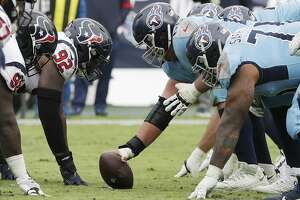 Houston Texans nose tackle Brandon Dunn (92) lines up against Tennessee Titans center Ben Jones (60) in the second half of an NFL football game Sunday, Dec. 15, 2019, in Nashville, Tenn. (AP Photo/James Kenney)