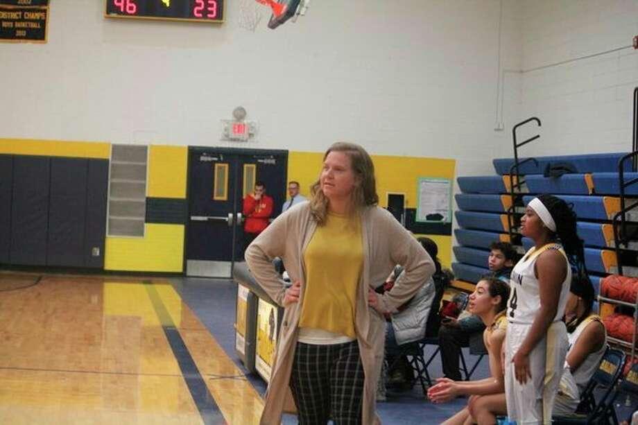 Baldwin coach Nikki Bergman watches the action in her team's win over Crossroads last week. (Star photo/John Raffel)
