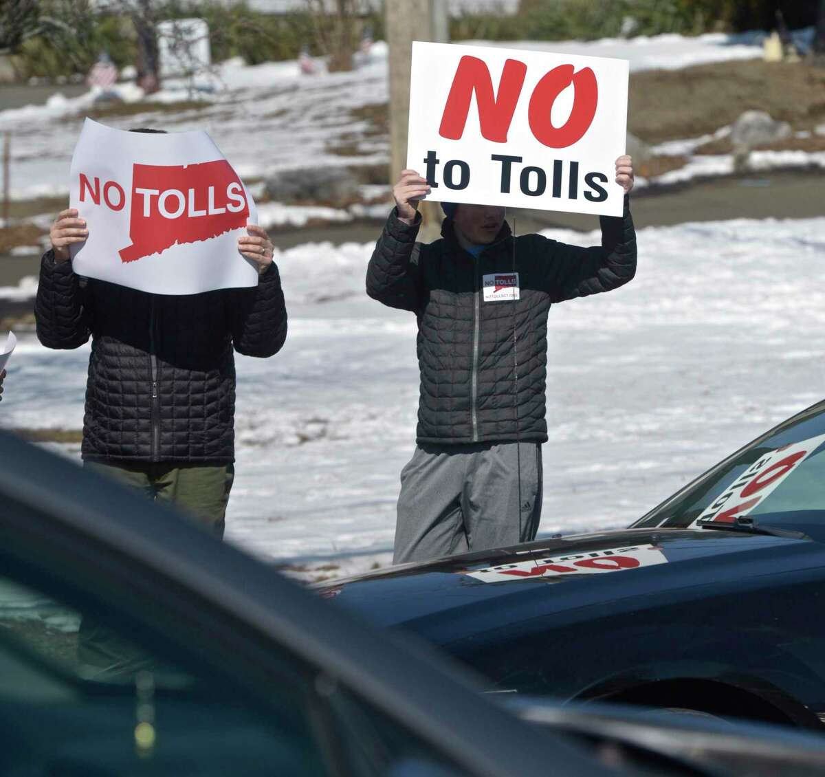 Stamford grassroots organization No Tolls Ct held an anti-toll protest at the White Street and Wildman Street intersection. Saturday, March 9, 2019, in Danbury, Conn.