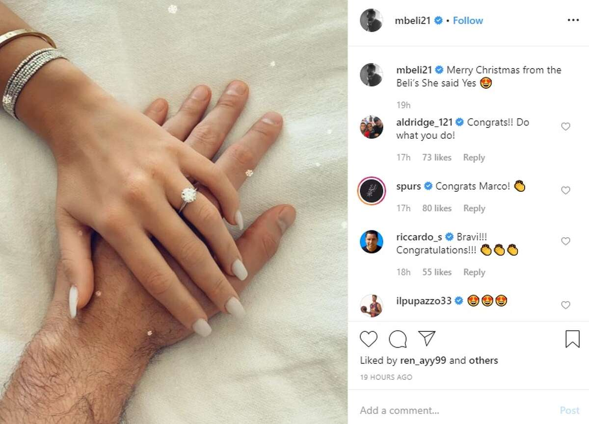 It was a very special Christmas Day for San Antonio Spur Marco Belinelli as he proposed to his girlfriendMartina Serapini, and she said