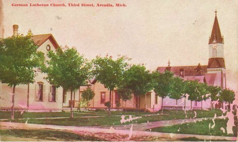 The German Lutheran Church in Arcadia is shown in this very early 1900 photograph.
