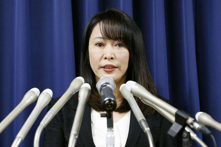 Japan's Minister of Justice Masako Mori speaks at a press conference on the execution of a convict Thursday, Dec. 26, 2019, in Tokyo. Japan on Thursday executed a Chinese death-row inmate convicted in the 2003 murder and robber of a family of four, including two children, as the country sticks to death penalty despite growing international move toward abolishing the system. (Kyodo News via AP) Photo: Associated Press