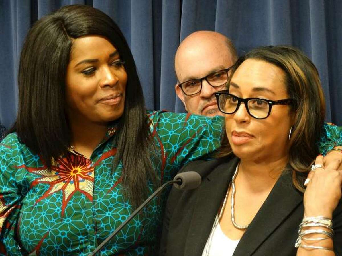 Rep. Jehan Gordon-Booth (left) and Sen. Toi Hutchinson, key sponsors in their respective chambers of a bill to legalize recreational marijuana in Illinois, speak at a news conference May 30 at the Capitol in Springfield to discuss what passage of the bill would mean to minority communities, which they say have been unfairly targeted by law enforcement as part of the national war on drugs. Legalization was approved by the General Assembly before the end of the spring session and goes into effect Jan. 1. Hutchinson later stepped down from her Senate seat to become the senior advisor to the governor for cannabis control.