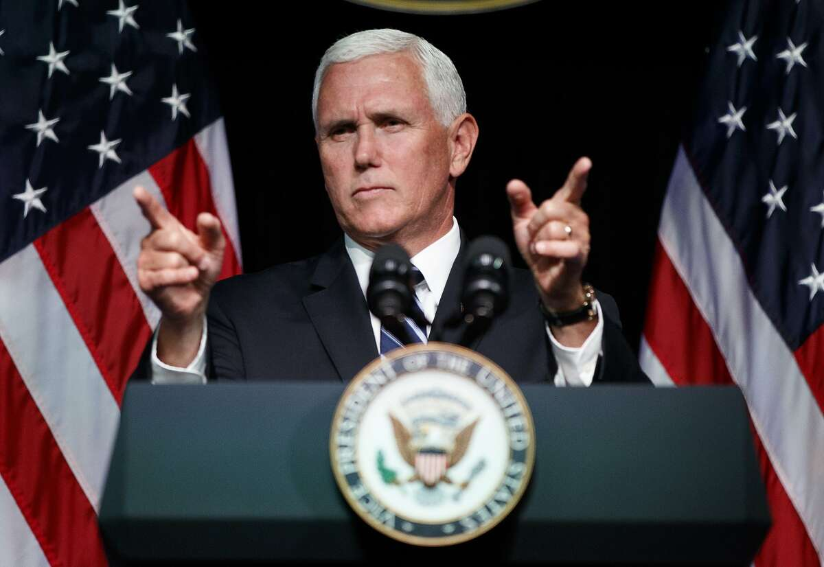 FILE - In this Aug. 9, 2018, file photo, Vice President Mike Pence gestures during an event on the creation of a U.S. Space Force at the Pentagon.