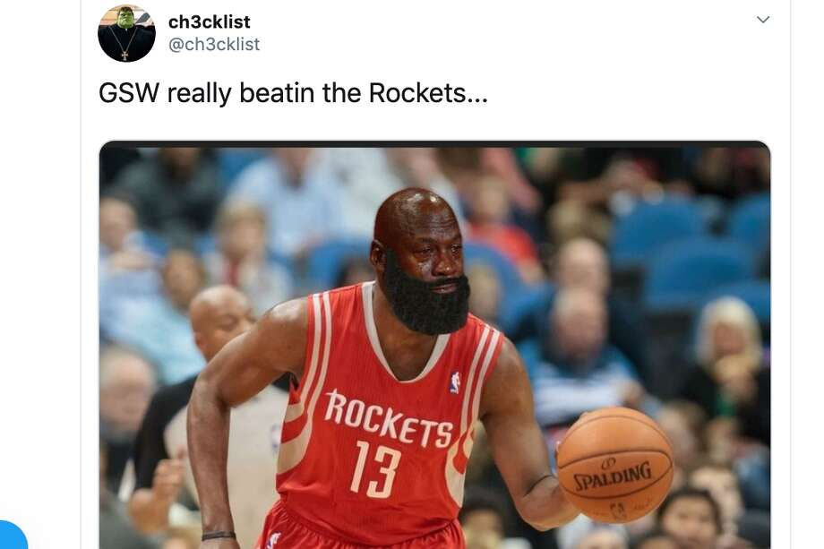 Warriors fans went crazy on memes Christmas day after Golden State upset the Rockets to earn its first win against an above-.500 team this season. Photo: Twitter