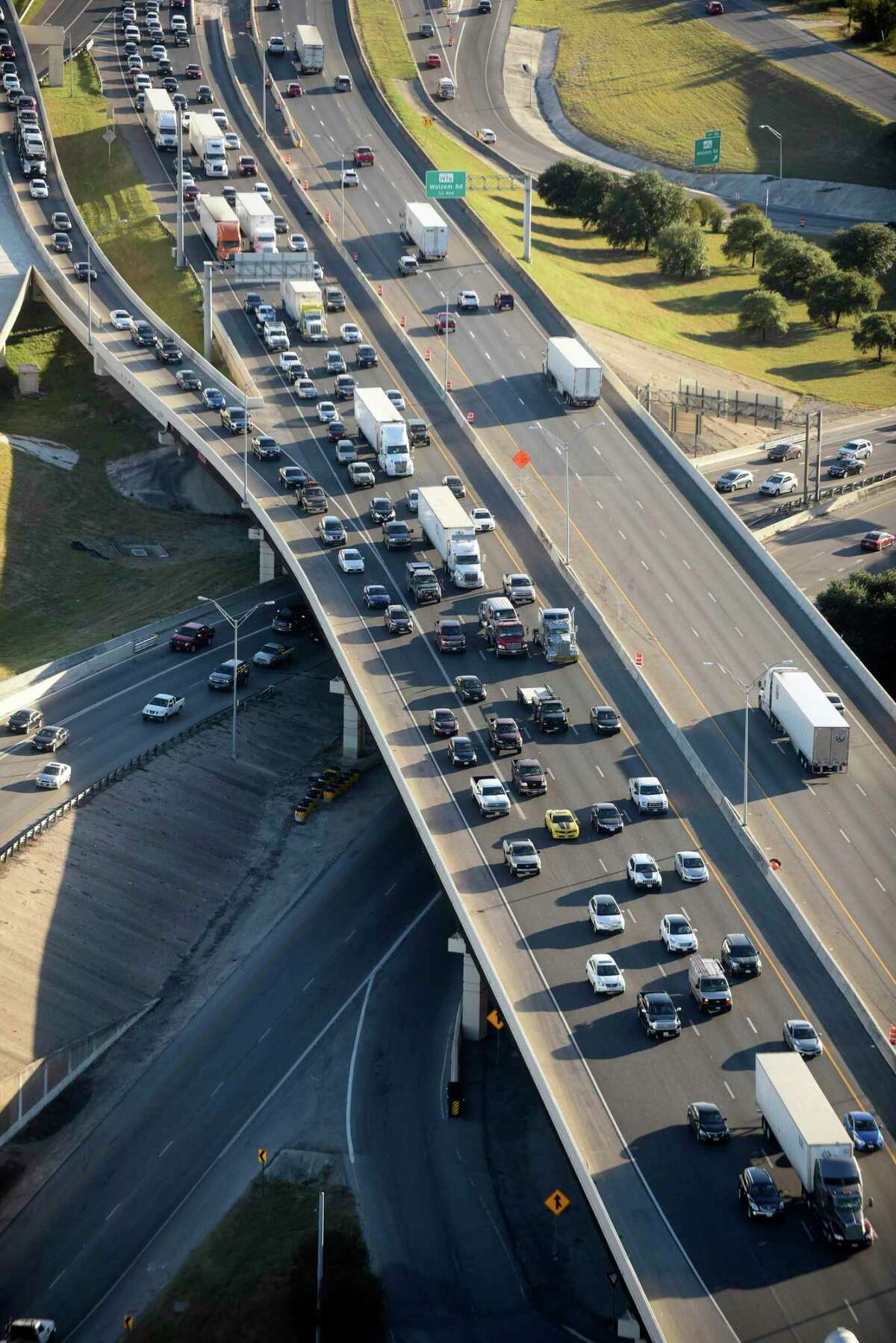 Rush-hour traffic on I-35 North in 2017. Highway funding to keep Texas moving is essential to our economic recovery from the pandemic.
