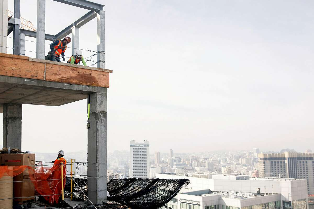 Construction crews continue work on the 45th floor of the Four Seasons Private Residence 706 Mission under construction in San Francisco, Calif. Friday, December 20, 2019.