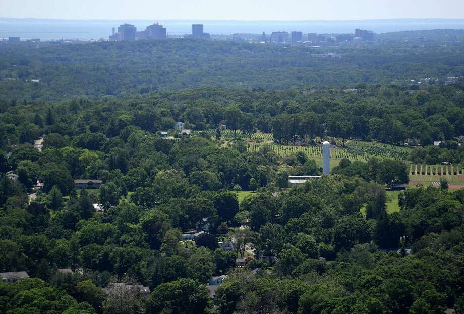 The Connecticut Agricultural Experiment Station, downtown New Haven, and the Sound are the view from the top of the head at the newly re-opened Sleeping Giant State Park in Hamden on Sunday, June 23, 2019. Photo: Brian A. Pounds / Hearst Connecticut Media / Connecticut Post