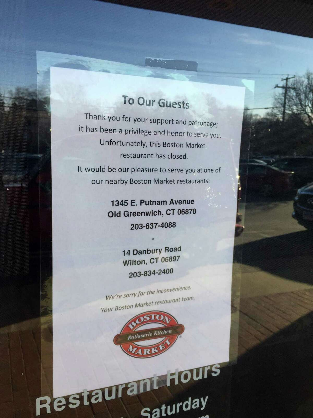 Boston Market has closed its restaurant at 1081 High Ridge Road in Stamford, Conn.