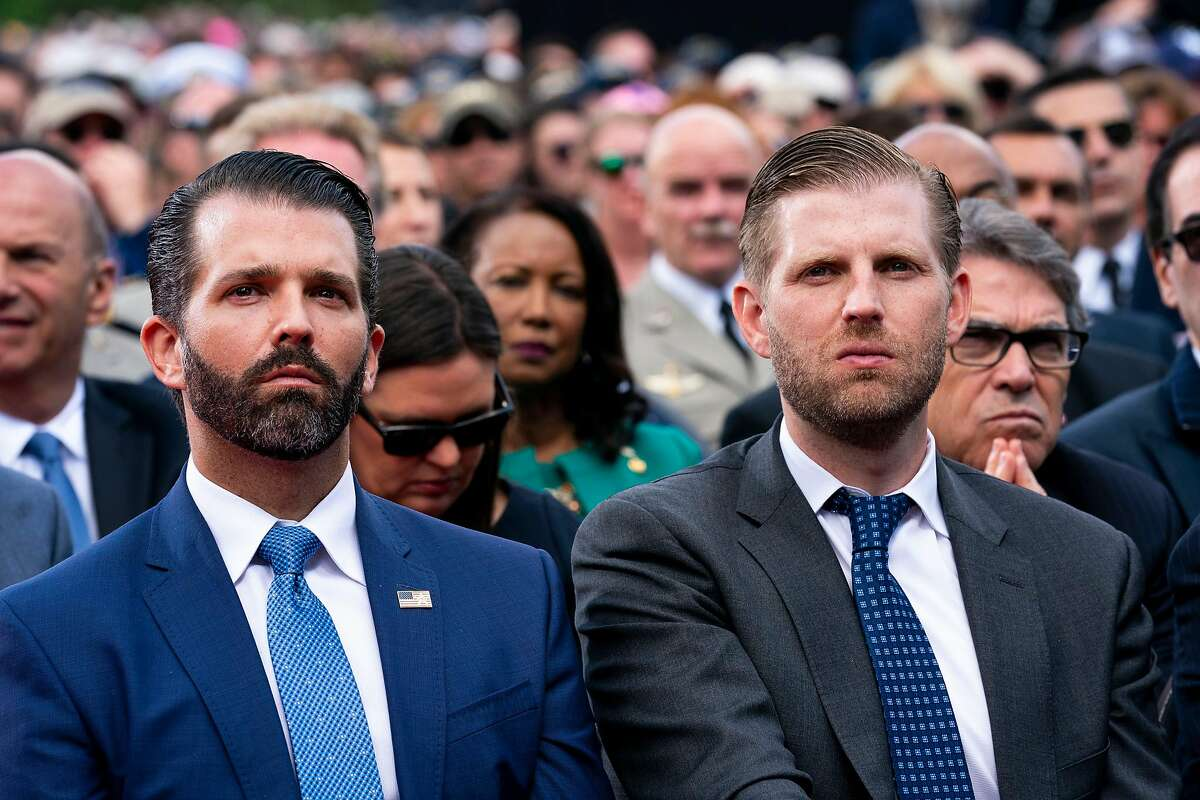 Businesses and properties controlled by the Trump Organization, run by the president's sons Donald Trump Jr. (left) and Eric Trump, will not be receiving any federal aid from the record $2 trillion stimulus package, according to New York Sen. Chuck Schumer.