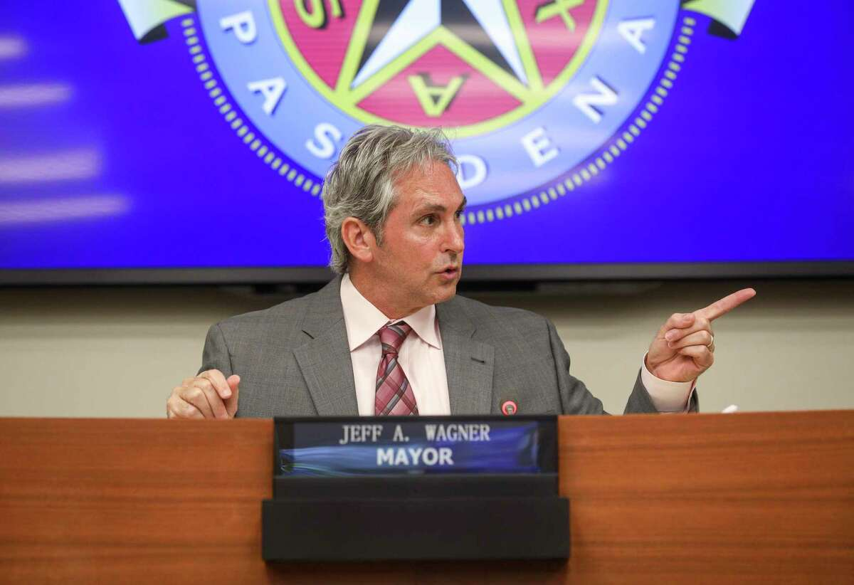 Jeff Wagner, Pasadena mayor, speaks during a city council meeting on Tuesday, Oct. 1, 2019, in Pasadena. He joined four council members in backing a plan to rename a street for country music star Mickey Gilley.