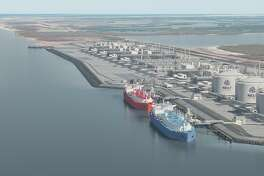 A rendering shows the proposed Rio Grande LNG export terminal, one of three planned for the Port of Brownsville.