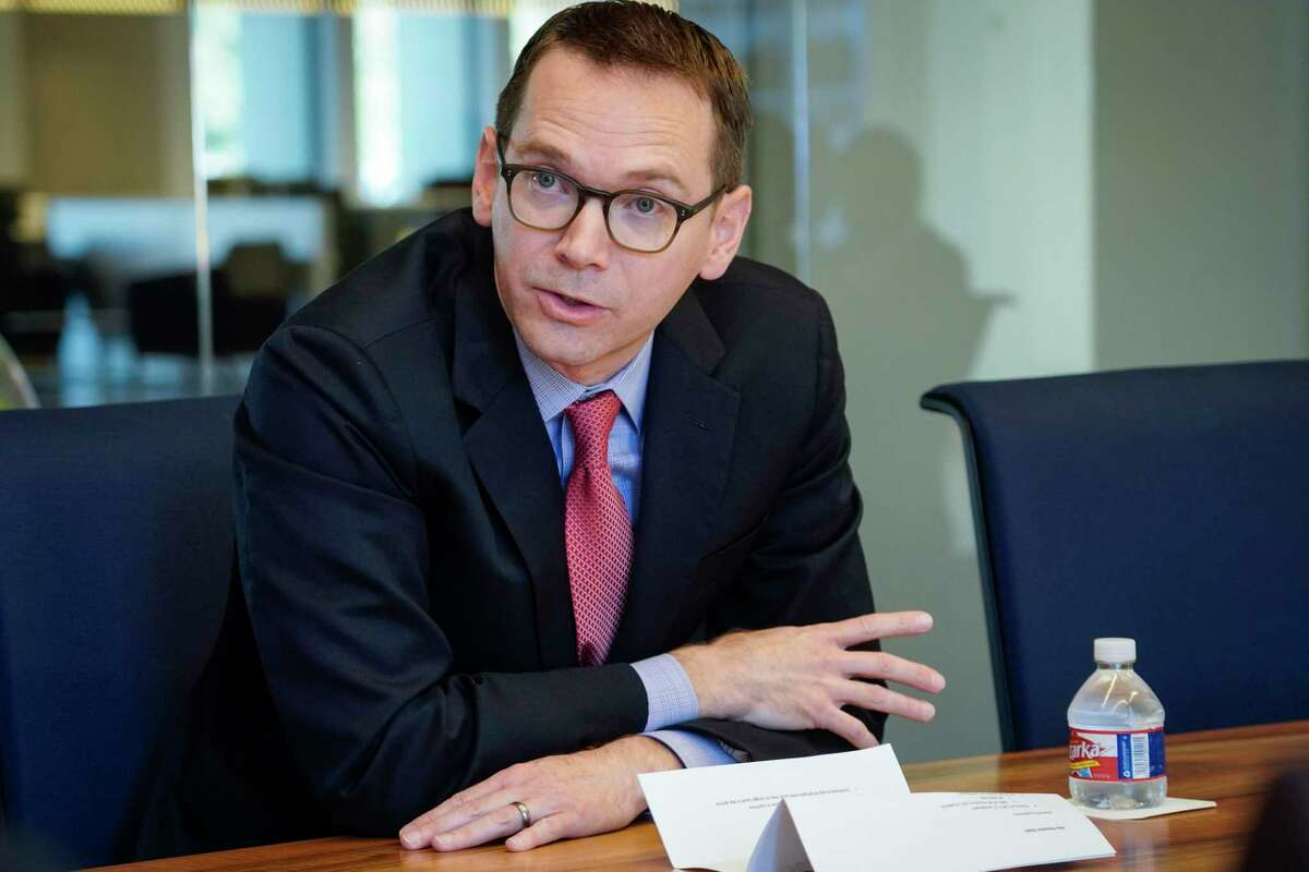 Texas Education Commissioner Mike Morath speaks to the Houston Chronicle's editorial board on Tuesday, Dec. 17, 2019, in Houston. Morath told the Texas Tribune on Thursday that remote students can opt to stay home on STAAR testing days and will not be forced to take the test.