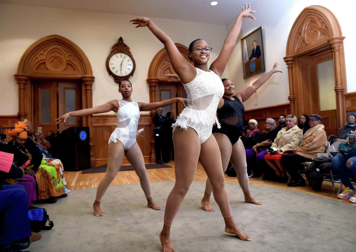 Members of the Hamden Academy of Dance & Music perform during the 16th Annual Kwanzaa Ceremony,
