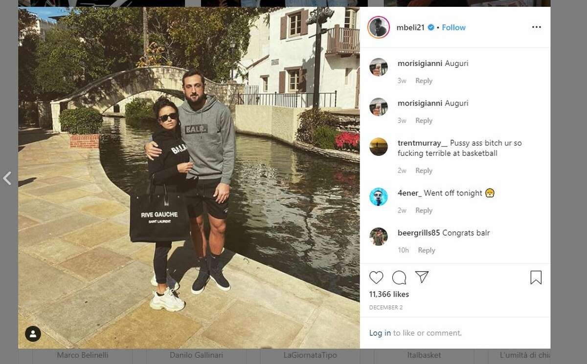 Marco Belinelli pictured here with his fiance Martina Serapini.