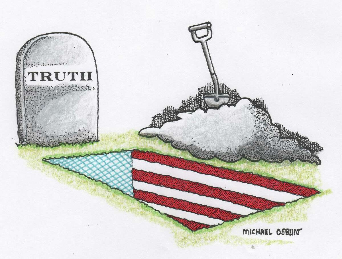 This artwork by Michael Osbun refers to the death of truth in America.