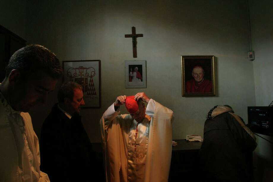Cardinal Theodore McCarrick, now defrocked, prepares to celebrate Mass at the Basilica of Sts. Nereus and Achilleus in Rome in 2005. Photo: Washington Post Photo By Andrea Bruce / The Washington Post