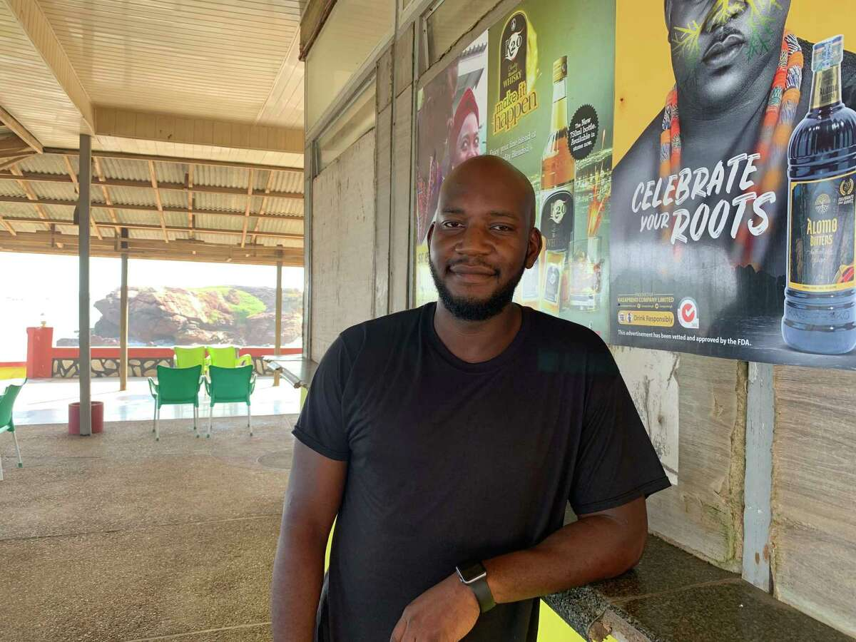 Pierre Delva, 32, moved to Accra in August to explore business opportunities. He is shown Dec. 10, 2019.