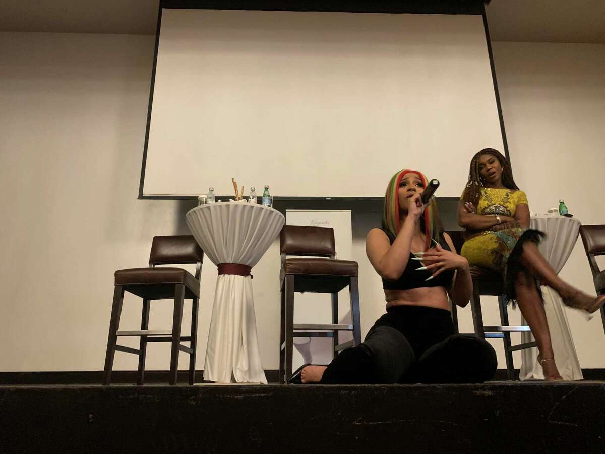 Cardi B takes questions from fans Dec. 10, 2019, at the posh Kempinski Hotel in Accra, Ghana.