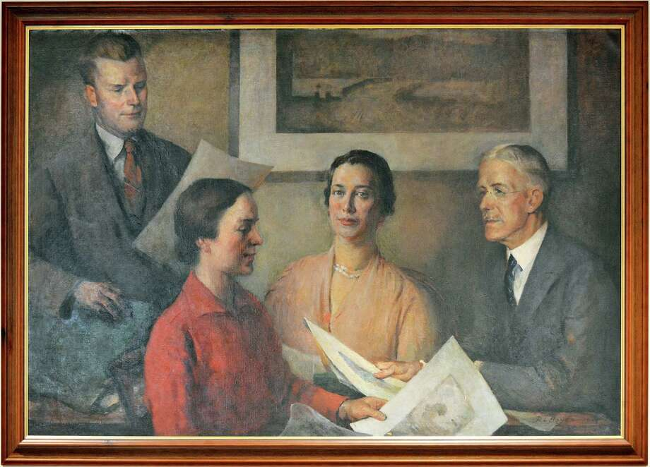 A painting of Henrietta Cholmely-Jones' art committee. Photo: Contributed