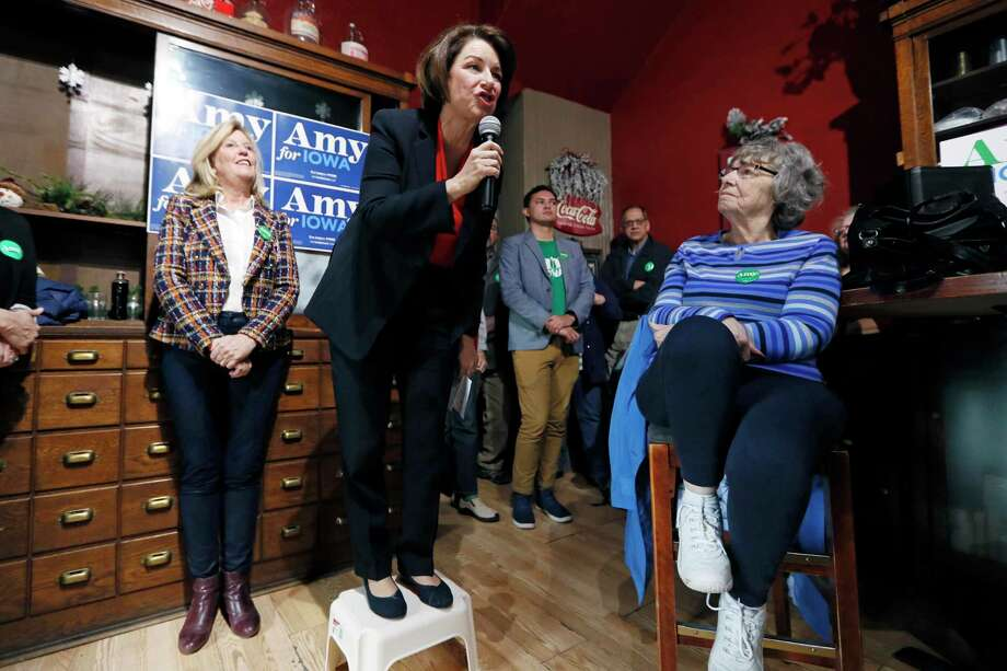 Democratic presidential candidate Sen. Amy Klobuchar, D-Minn., speaks during a stop at the Corner Sundry in Indianola, Iowa, this month. Photo: Associated Press / Copyright 2019 The Associated Press. All rights reserved