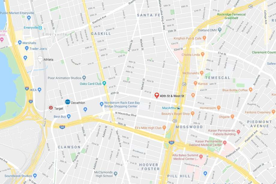 A fire broke out at 2:30 a.m. at an Oaklandwarehouse on West Street between 40th and MacArthur Boulevard, near the MacAurthur BART station, on Friday morning. Photo: Google Maps