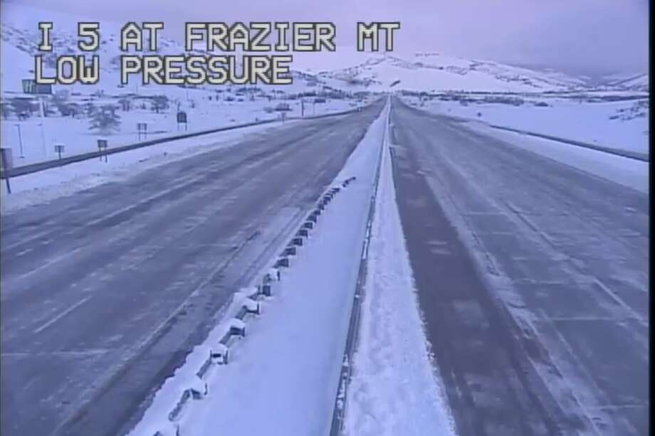 Caltrans live webcam on I-5 between Lebec and Gorman on the Grapevine showed snowy conditions at 7:30 a.m. Friday. Photo: Caltrans