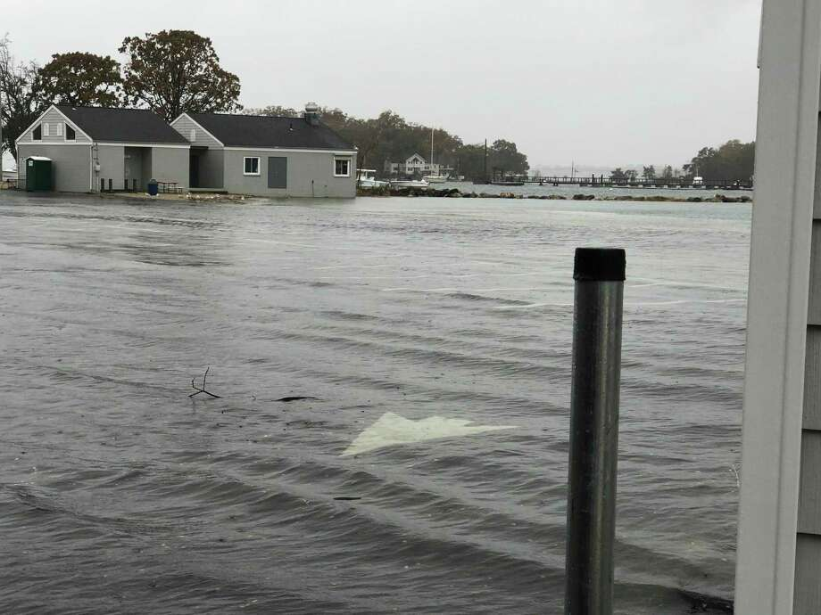 Flooding at Pear Tree Point Beach on Sunday, Oct. 27. Photo: Janienne Hackett / Connecticut Post