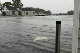 Flooding at Pear Tree Point Beach in October.