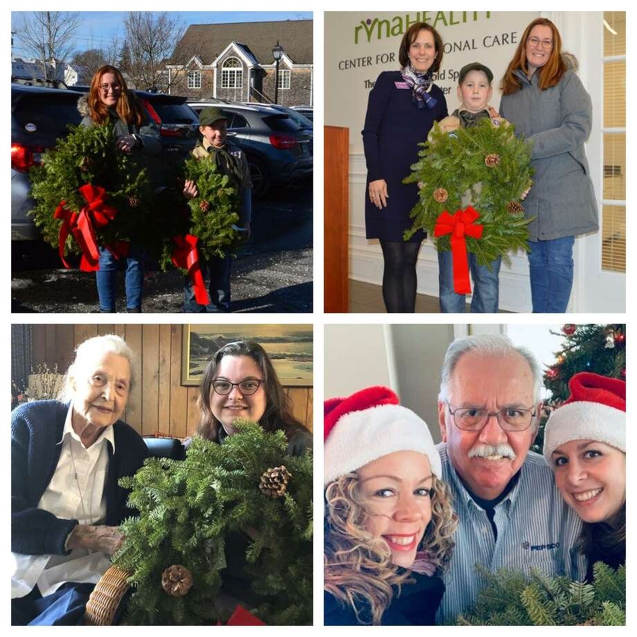 Evan Joyce of Boy Scout Troop 76 made it his duty to donate seven beautiful holiday wreaths for RVNAhealth patients and their families. Bottom left: Bridget Helsley brings a wreath to Ilga, and Alice Meenan and Melissa Woodhouse make a special delivery to Guy (bottom right). Photo: Twitter Photo