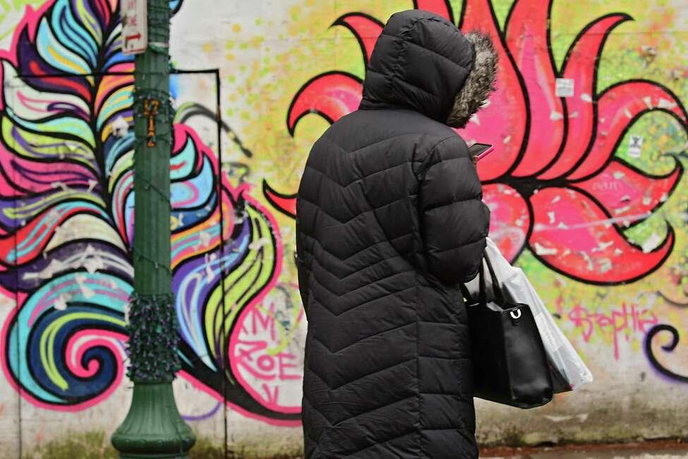 A pedestrian walks past a lotus flower graffiti wall on Congress St. Friday, Dec. 27, 2019 in Troy, N.Y. (Lori Van Buren/Times Union)