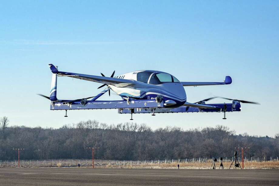 "Boeing's a prototype of a ""flying car"" -- part of a project aimed at ""on-demand autonomous air transportation"". Boeing its prototype ""flying car"" -- part of a project aimed at ""on-demand autonomous air transportation"" -- has completed its first successful test flight. The electric vertical takeoff and landing (eVTOL) aircraft said the test was carried out Tuesday outside Washington, D.C. Photo: HO, Handout / AFP/Getty Images / AFP or licensors"