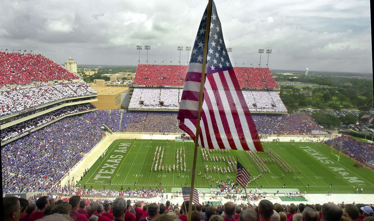 """Texas A&M's """"Red, White and Blue Out"""" on Sept. 22, 2001, came in the Aggies' first game after the Sept. 11 terrorist attacks."""