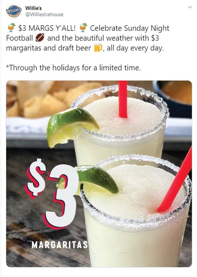 Willie's Grill and Icehouse is offering a $3 margarita special all day, every day for the rest of 2019. Photo: Twitter: @WilliesIcehouse