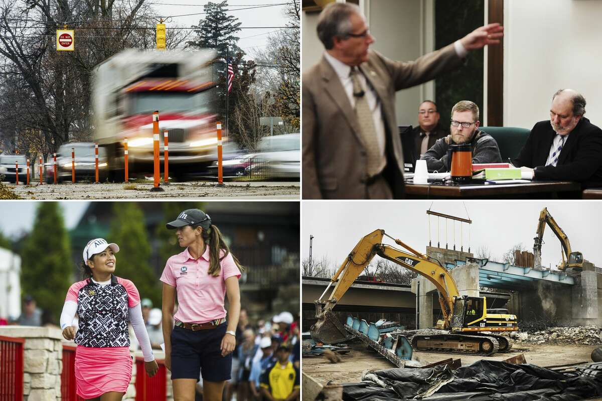 Top left: Vehicles move down Buttles Street Tuesday, Nov. 19, 2019 in Midland. Top right: Joel Wallace, center, listens as Midland County Prosecutor J. Dee Brooks, left, presents evidence during Wallace's trial, who is charged with the murder of his great-aunt, Victoria Kilbourne, Tuesday, March 12, 2019 at the Midland County Courthouse. Bottom left: Jasmine Suwannapura of Thailand, left, and her playing partner Cydney Clanton of Alabama, right, walk off the 18th green after winning the first ever Dow Great Lakes Bay Invitational Saturday, July 20, 2019 at Midland Country Club. Bottom right: The remaining pieces of the old M-20 bridge are torn down Monday, Jan. 14, 2019 in downtown Midland. (Katy Kildee/kkildee@mdn.net)