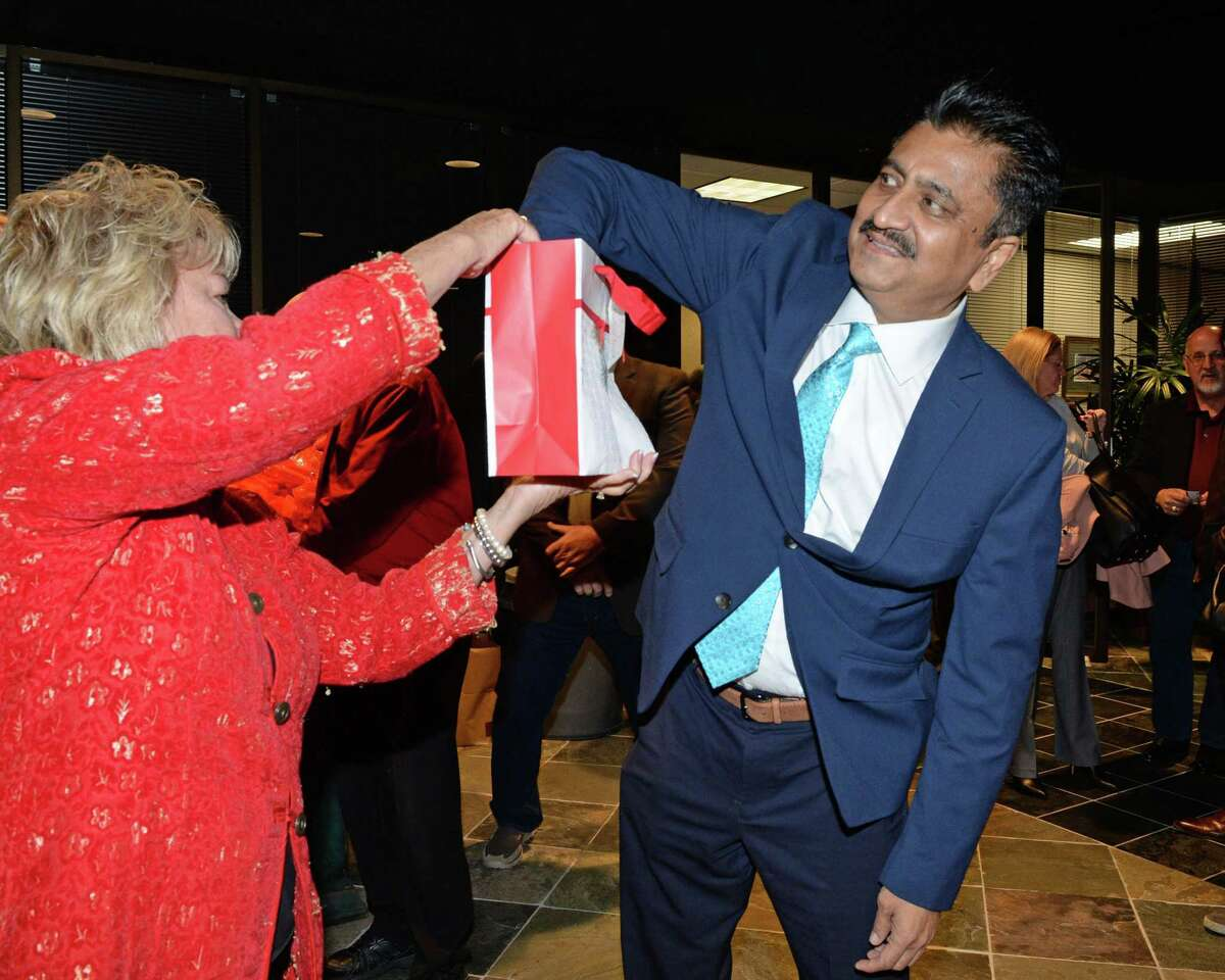Siddiqi Muzaffar draws a number to determine the place he will appear on the March 3, 2020, Fort Bend County Republican primary ballot among candidates for Sheriff. The drawing was held on Thursday, Dec. 19, 2019, in Sugar Land.