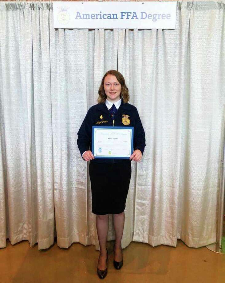 Abbi Drews demonstrated leadership and hard-work to earn the American FFA Degree. (Sara Eisinger/ Huron Daily Tribune)