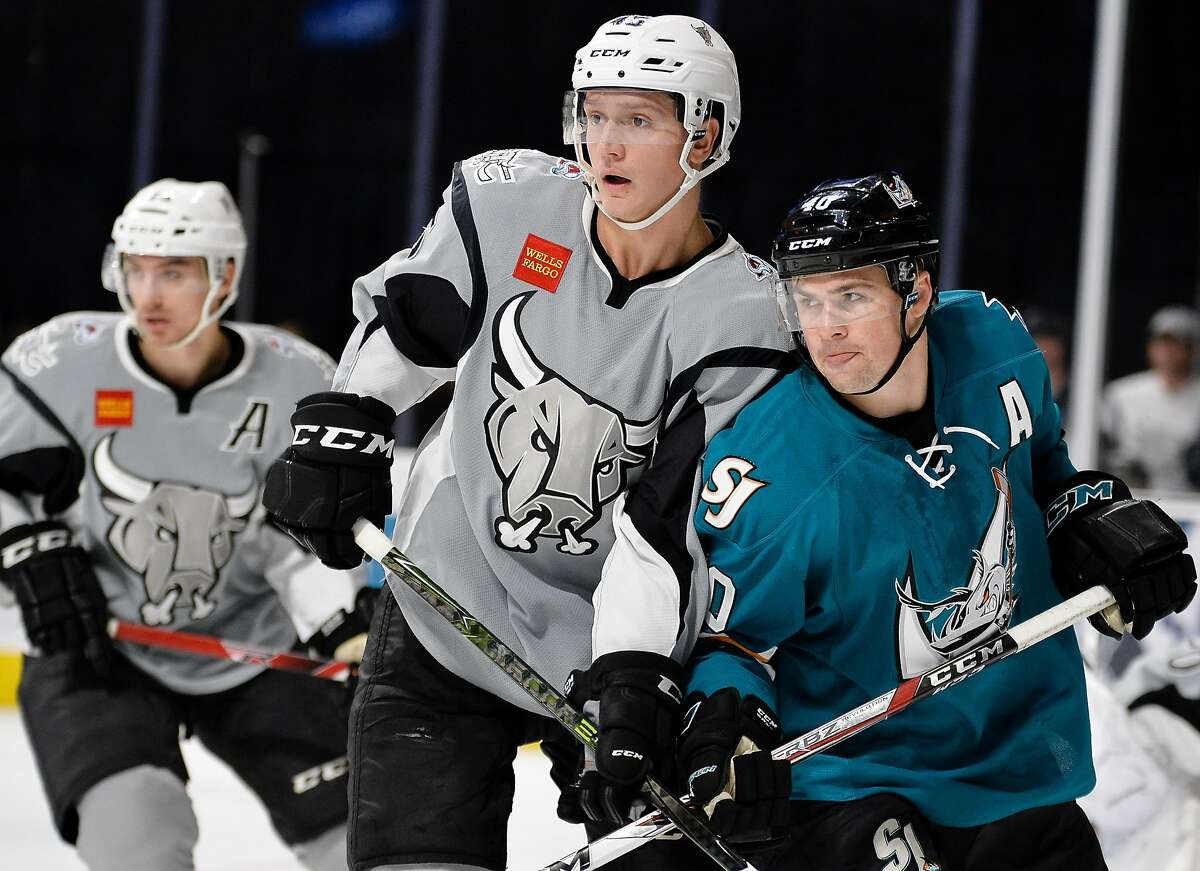 San Antonio Rampage defenseman Sergei Boikov, left, and San Jose Barracuda left wing John McCarthy battle for position in front of the crease during the first period of an AHL hockey game, Saturday, Dec. 3, 2016, in San Antonio, Texas. (Darren Abate/AHL)