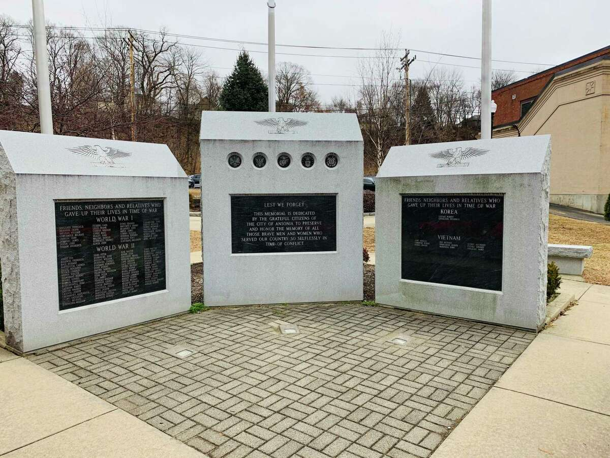 Three granite monuments in Ansonia's Veterans' Park display the names of city servicemen killed in action.