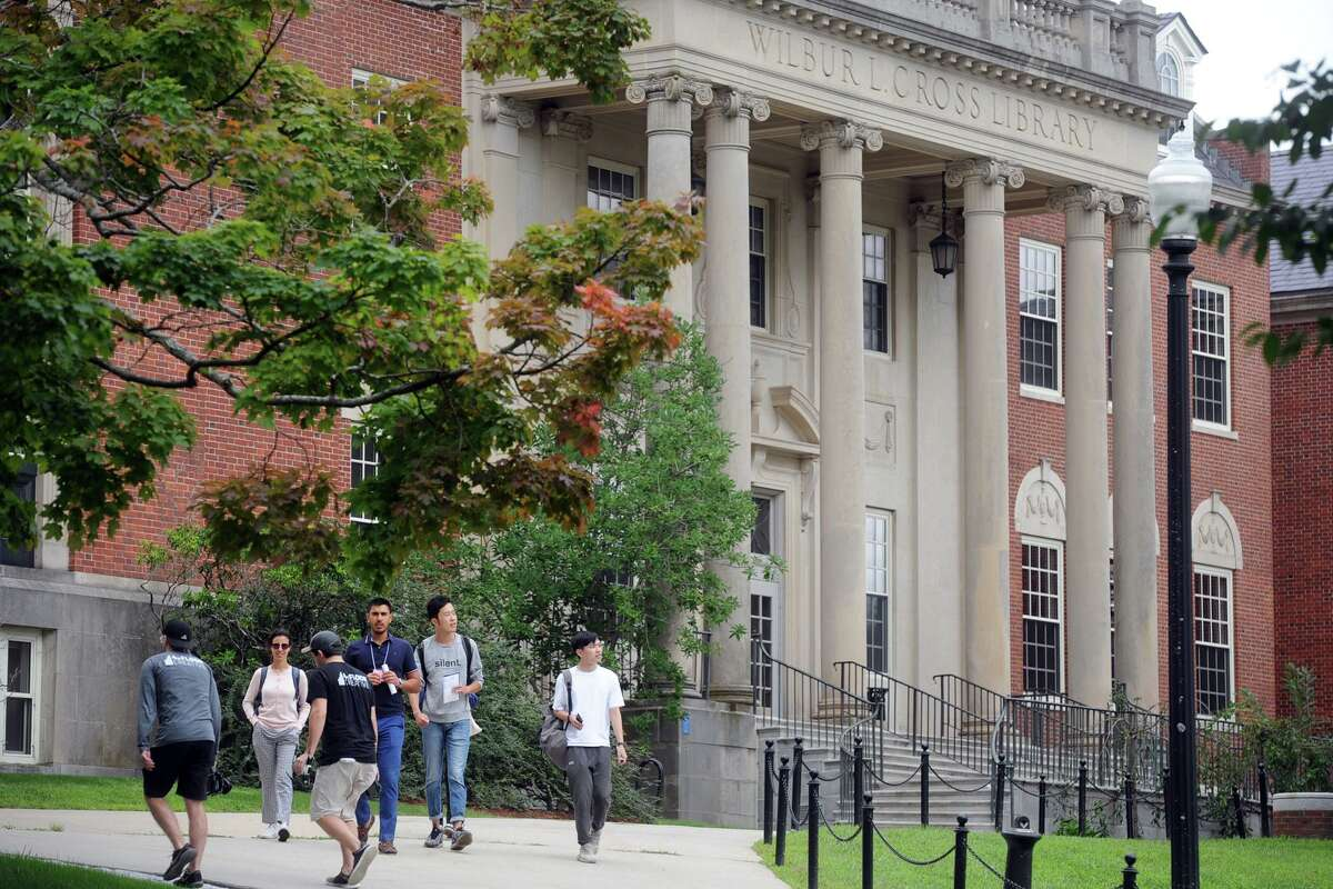 Students tour the University of Connecticut campus in preparation for the new school year in Storrs in August 2018.
