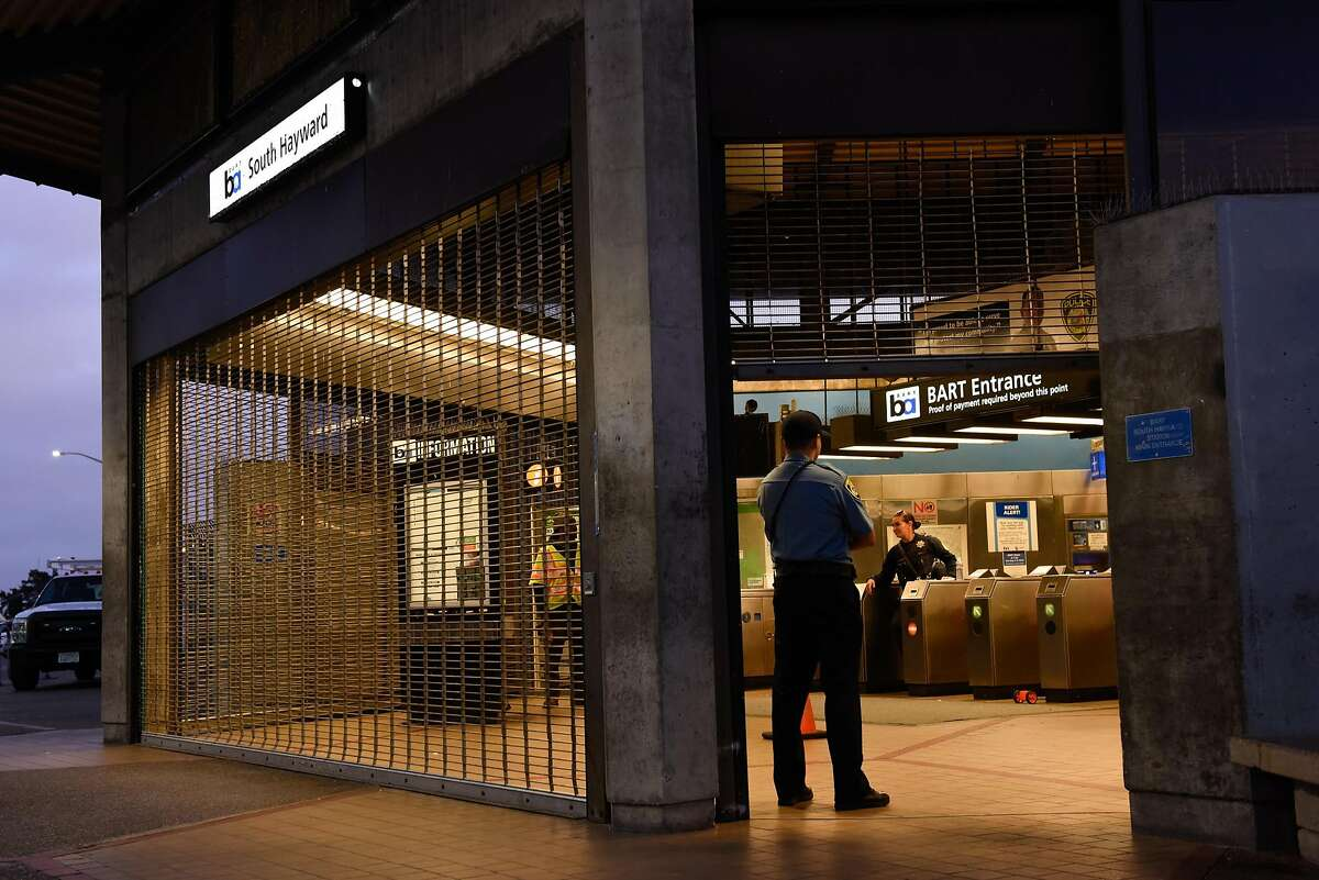 BART Police shut down the South Hayward BART Station after a homicide on one of the transit system�s trains on November 20, 2019 in Hayward, Calif.