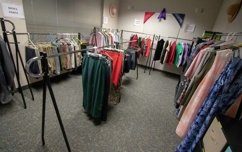 Business clothing is on display at The Community Circle on Thursday, March 7, 2019 at the Lone Star College-Montgomery University Center in Conroe. The Community Circle is set up to provide food, toiletries and business clothing to those in need. Photo: Cody Bahn, Houston Chronicle / Staff Photographer / © 2018 Houston Chronicle