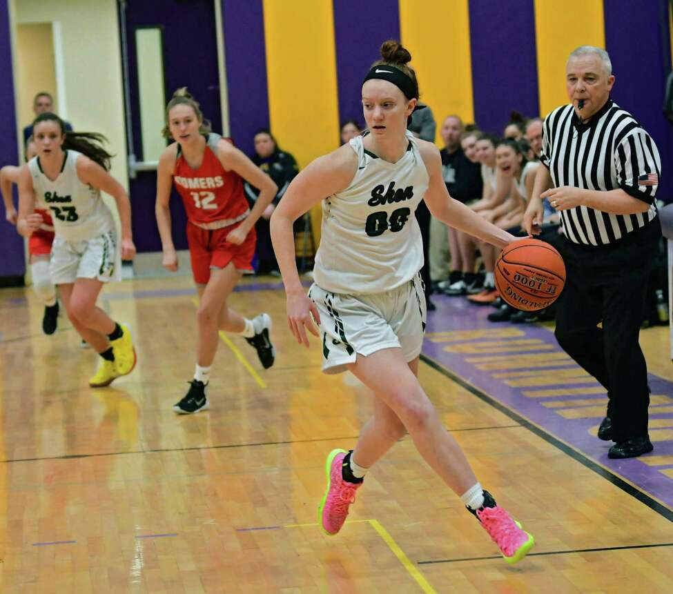 Shenendehowa's Jillian Huerter dribbles the ball during a basketball game against Somers on Friday, Dec. 27, 2019 in Amsterdam, N.Y. (Lori Van Buren/Times Union)