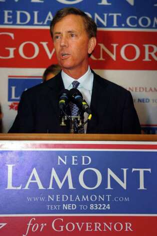 Democratic candidate for Governor Ned Lamont speaks Tuesday night at Testo's Restaurant, in Bridgeport, Conn., conceding his loss to opponent Dan Malloy. Photo: Ned Gerard / Connecticut Post